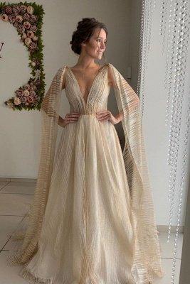 Champagne Straps Deep V Neck Sleeveless Backless Tulle Shawl A  Line Wedding Dresses_1