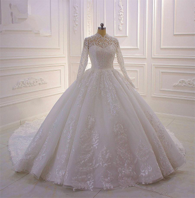 Gorgeous Long Sleeve High Neck Applique Ball Gown Wedding Dresses | Sequin Floor Legnth Wedding Gown_2