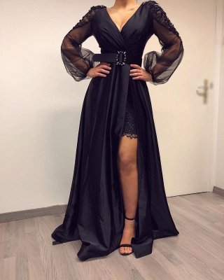 Sexy Deep V Neck Beackless Long  Sleeve Lace Side Slit  A Line Prom Dresses With Sash_2
