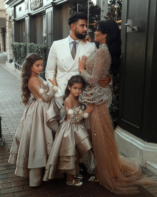 Luxury Long Sleeve applique Crystal Ball Gown Flower Girl Dresses_3