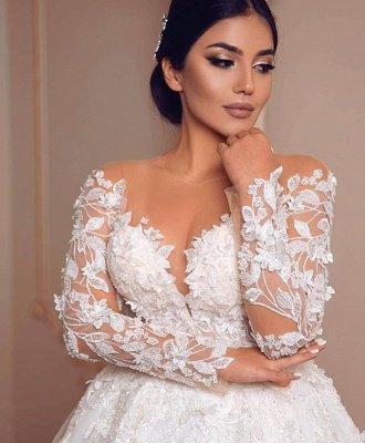Elegant Long Sleeve Jewel Floral Applique Ball Gown Wedding Dress_4