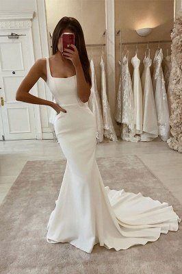 Sexy Spaghetti Strap Backless Sash Mermaid Wedding Dresses_1