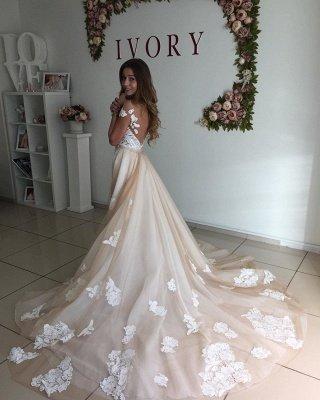 Sweetheart Cap Sleeve Applique Sheath Tulle Wedding Dresses With Detachable Skirt_2