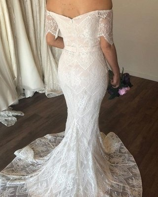 Graceful Sweetheart Off The Shoulder  Lace Mermaid Wedding Dresses | Short Sleeve Bridal Gown_2