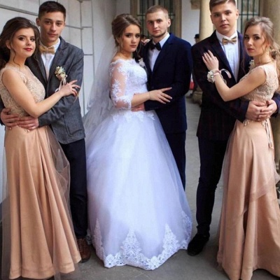 Bateau Lace Ball Gown Wedding Dresses with Sleeves_2