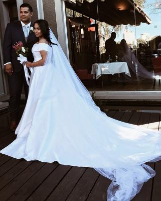 Off The Shoulder Sweetheart Backless Satin A  Line Wedding Dresses_3