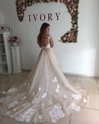 Sweetheart Cap Sleeve Applique Sheath Tulle Wedding Dresses With Detachable Skirt_4