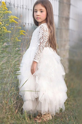 Cute Long Sleeves Jewel Tea Length Lace Tulle Flower Girl Dresses_6