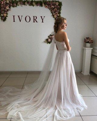 One Shoulder Backless Tulle Floor Length  Pleated A  Line Wedding Dresses_2