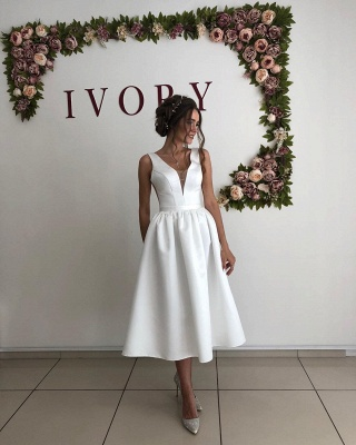 Straps Deep V Neck  Satin  Tea Legnth A  Line Wedding Dresses_3