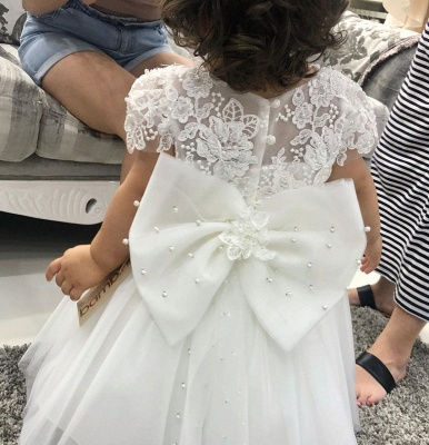 Jewel Short Sleeve Floral Tulle Ball Gown Flower Girl Dresses_3