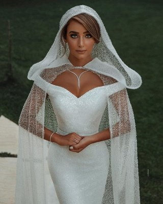 Chic Sweetheart Off The Shoulder Sash Crystal Sequin Floor Length Sheath Wedding dresses With Shawl_5