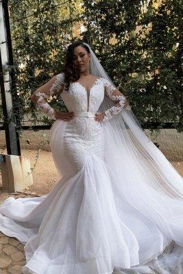 Plus Size Jewel Long Sleeve Applique Crystal Sequin Sash Mermaid Wedding dresses_1