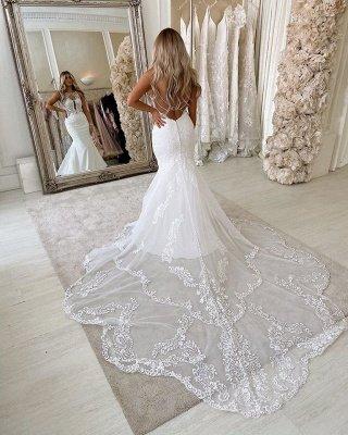 Sexy Jewel  Sleeveless Lace Backless Mermaid Wedding Dress_3