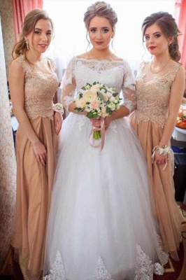 Bateau Lace Ball Gown Wedding Dresses with Sleeves_1