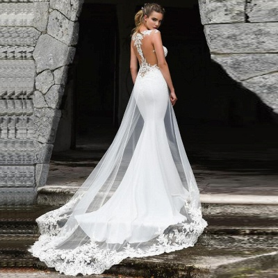 Lace Fitted Wedding Dresses | Jewel Sleeveless Sheath Bridal Gown_2