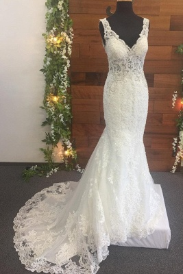 Straps Lace Pearls V Neck Mermaid Wedding Dresses | Backless Fitted Bridal Gown