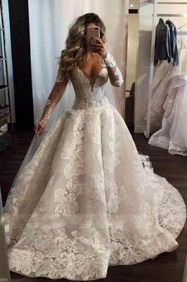 Sexy V Neck Long Sleeve Floral A Line Wedding Dresses