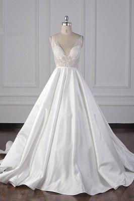 Beautiful Sleek Satin White Appliques Wedding Dresses Long_2