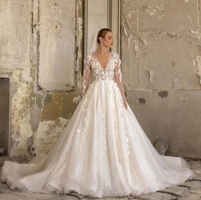 Alluring Deep V Neck Applique Pleats A Line Wedding Dresses | Floral Bridal Gown_2
