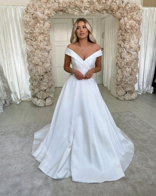 Off The Shoulder Sweetheart A Line Wedding Dress   Sweep Train Wedding Gown_2