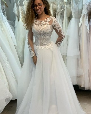 Elegant Jewel Long Sleeve Full Back Lace Pleated A Line Wedding Dresses_4