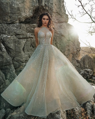 Sexy Halter Sleeveless Sequin Tulle A Line Floor Length Wedding Dress_3