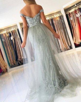 Elegant Sweetheart Off The Shoulder Backless  Applique Sash Floor Length Mermaid Prom Dresses_4