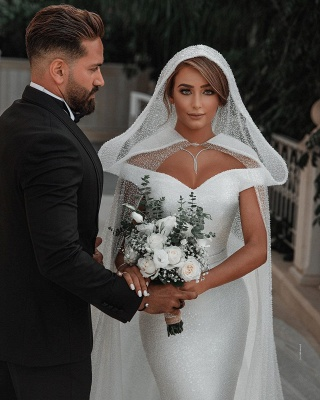 Chic Sweetheart Off The Shoulder Sash Crystal Sequin Floor Length Sheath Wedding dresses With Shawl_6