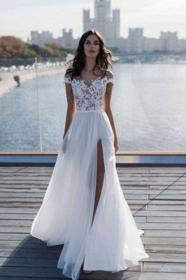 Jewel Slit Lace A Line Wedding Dresses | Sheer Back Sash Bridal Gown