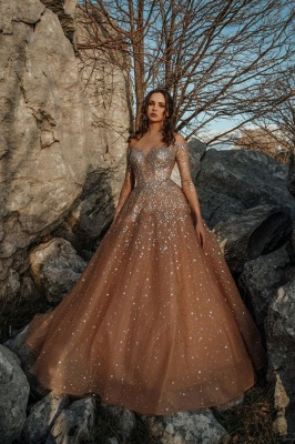 Gorgeous Champagne Long Sleeve Sequin Tulle Crystal Ball Gown Wedding Dresses_1