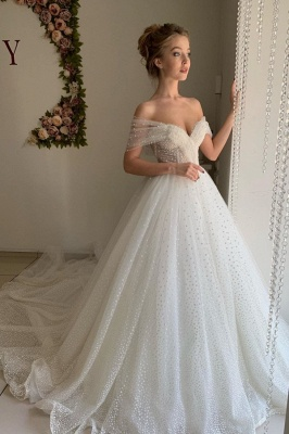 Sexy Off The Shoulder Sweetheart Backless Pleated Tulle A  Line Wedding Dresses_1