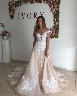 Sweetheart Cap Sleeve Applique Sheath Tulle Wedding Dresses With Detachable Skirt_3