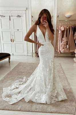 Straps Plunging V Neck Sash Applique Lace Mermaid Wedding Dresses_1