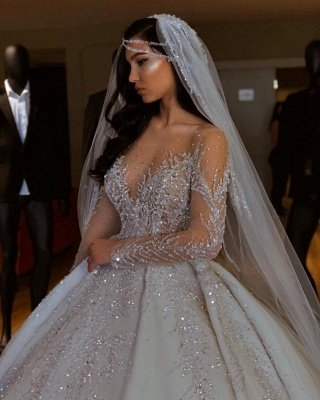 Luxury Jewel Long Sleeve Crystal Beaded Pleated Ball Gown Wedding Dresses_4