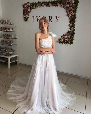 One Shoulder Backless Tulle Floor Length  Pleated A  Line Wedding Dresses_3