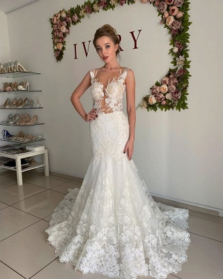 Straps Jewel Applique Tulle Fit And Flare Pleated Mermaid Wedding Dresses_3