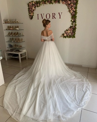 Sexy Off The Shoulder Sweetheart Backless Pleated Tulle A  Line Wedding Dresses_2