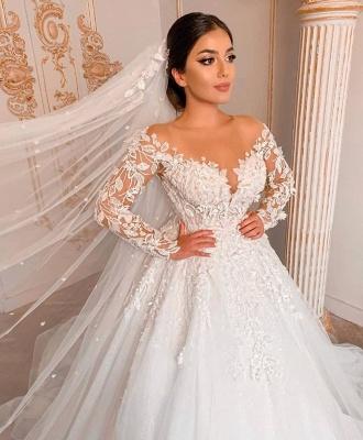 Elegant Long Sleeve Jewel Floral Applique Ball Gown Wedding Dress_3