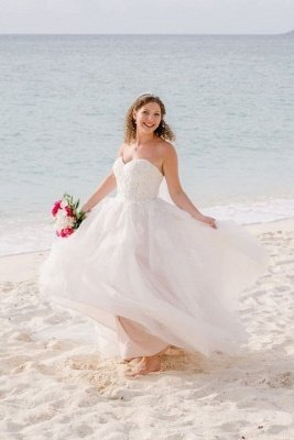 Sweetheart Sleeveless Applique A Line Boho Beach Wedding Dresses | Floor Length Bridal Gown