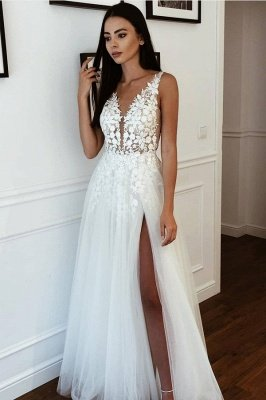 Casual Straps V Neck Applique Side Slit A Line Beach Wedding Dresses