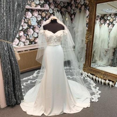 Simple Style Off The Shoulder Sweetheat Applique Beaded Sash Court Train Sheath Wedding Dresses_2