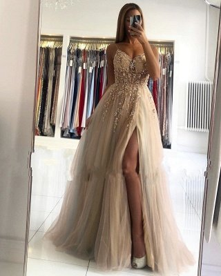 Gorgeous A Line Lace Tulle Crystals Prom Dresses