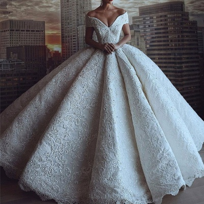 Gorgeous Sweetheart V Back Off The Shoulder Crystal Sequin Applique Pleated Ball Gown Wedding Dresses_2