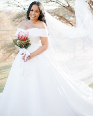 Off The Shoulder Sweetheart Backless Satin A  Line Wedding Dresses_2