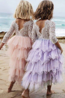Cute Long Sleeves Jewel Tea Length Lace Tulle Flower Girl Dresses_7