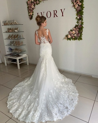 Straps Jewel Applique Tulle Fit And Flare Pleated Mermaid Wedding Dresses_2