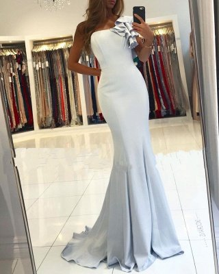 One Shoulder Sleeveless Backless Fit And Flare Mermaid Prom Dresses_2