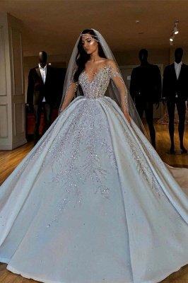 Luxury Jewel Long Sleeve Crystal Beaded Pleated Ball Gown Wedding Dresses_1