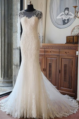 Gorgeous Long Sleeve Jewel Pearls Wedding Dresses | Sheer Back Applique Wedding Gown